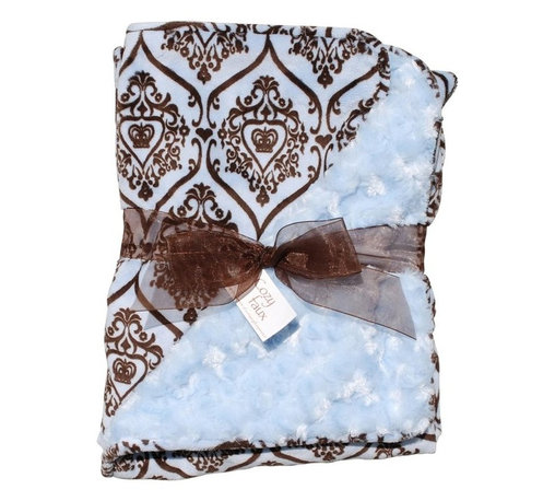 Belle & June - Baby Blanket, Paisley and Light Blue - The paisley design is sometimes described as 'Persian pickles' or 'Welsh pears'. The famous teardrop pattern works nicely on this groovy, snugly baby blanket. If you are out and about in cold weather, your little one will be warm and toasty while exuding tremendous style.