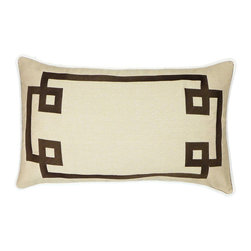 "NECTARmodern - Deco Frame (Brown) embroidered throw pillow 20"" x 12"" - Clean and chic beige/Brown deco frame design. White rolled piping around the edge. Solid beige back. Also available in green colorway Designer quality cover with overstuffed feather/down insert."