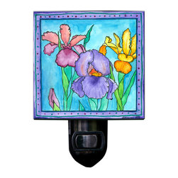 Iris Night Light - Our lovely Iris Night Light will bring a colorful glow to any night. It's made of a print of original watercolor, which is sandwiched in between two layers of durable acrylic. The light is UL approved and comes with a standard four watt night light bulb. Gift box included. Made in the USA. (Be sure to look for our iris wall clock, too!)