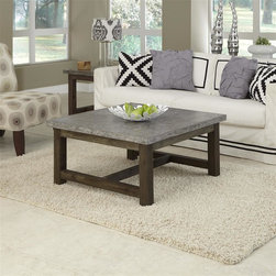 HomeStyles - Concrete Chic Square Coffee Table - Add an urban edge to any eclectic decor with the Concrete Chic Coffee Table by Home Styles. This unique piece is constructed molded concrete over a light weight core with a solid wood base. The top is lightly finished aged metal look and the base has a weathered brown finish. This table's honed beauty and natural intonations create a remarkable accent piece for any room's style. As an additional feature, this collection is suited for outdoor use as well. 36 in. W x 36 in. D x 18 in. H