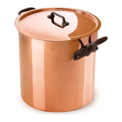 """Mauviel - Mauviel Cuprinox M'Heritage M150 Stock Pot 11.7-qt. - This cookware, with a thickness of 1.5 mm of copper (90% copper - 10 % stainless steel), is the best choice for everyday use. Features include an interior surface of stainless steel (which will not react with food, and does not require """"re-tinning"""" like traditional tin-lined copper). No retinning required. Fixed by sturdy stainless steel rivets. Dimensions: 9.5"""" Diameter x 9.4"""" Height. Made in France. Lifetime warranty."""