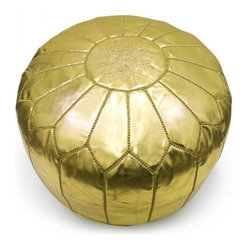 Leather Moroccan Pouf, Gold