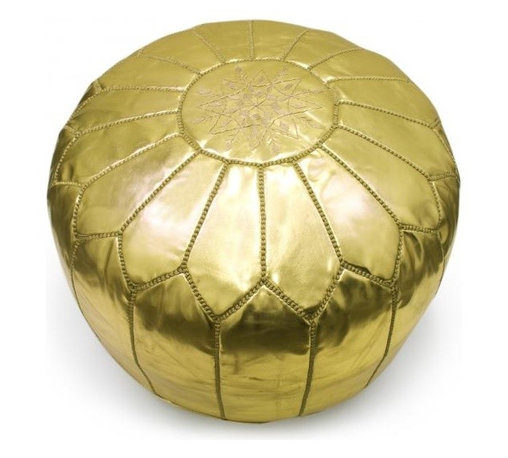 Leather Moroccan Pouf, Gold - All that glitters is gold! This beautiful pouf is perfect for lounging on or placing under a console table. If you're entertaining and need extra seating, pull one out from the closet, and you'll look like the perfect host/hostess.
