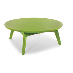 Loll Designs - Satellite Cocktail Table Round, Leaf Green - In the context of outdoor lounging, a Loll Satellite accent table is a recycled polyethylene object placed into orbit around humans resting in Loll Furniture. Unlike the moon, the Loll Satellite Table actually rotates in conjunction with the Earth and her inhabitants, at just over 1,000 miles per hour, but appears to be sitting still. We think it's time for you to have your very own Satellite... perfect for star gazing on black nights with warm breezes and cold drinks. All Loll Satellite Tables are made with heavy 1 inch thick 100 percent recycled plastic.