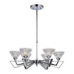 Elk Lighting - Frenzy 5-Light Chandelier in Polished Chrome - The excitement of mid-century design is evident in the Frenzy Collection. Finished in polished chrome, this series features angular arms that flair outward while beveled crystal glass emits an impressive textured light.