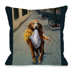 "Graviss Studios - Throw Pillow- Daisy Retriever - The perfect companion, this Golden Retriever graces an 18"" square pillow and printed from an original pastel painting created by artist Debbie Graviss. Includes a hidden zipper."