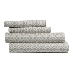 """DwellStudio - DwellStudio Gate Sheet Set - The DwellStudio Home Gate sheet set introduces iconic bedroom style. A sophisticated smoke gray, geometric pattern mesmerizes across the neutral cotton bedding. 200 thread-count cotton percale; Available in several sizes; Includes flat sheet, fitted sheet and 2 pillowcases; Machine washable; Full Flat Sheet: 92""""W x 104""""H; Full fitted sheet: 54""""W x 74""""H; Standard pillowcases: 26""""W x 20""""H; Queen flat sheet: 92""""W x 104""""H; Queen fitted sheet: 60""""W x 80""""H; Standard pillowcases: 26""""W x 20""""H; King flat sheet: 108""""W x 104""""H; King fitted sheet: 78""""W x 80""""H; King pillowcases: 36""""W x 20""""H"""