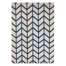 Rugsville - Rugsville  Chevron Ivory Blue Wool 13692 Rug - Rugsville Chevron stripes are everywhere we look, from the runway to the showroom. Hand Woven in a soft wool weave of durable, non-fading, washable 100%. To clean, just wash with mild soap or rinse with a hose. Use of a Rug Pad, is recommended.