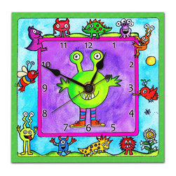 Monster Wall Clock - Our adorable, friendly Monster clock will make any kid smile. Made in our studio, a print of an original watercolor is dry mounted onto black foam board and heat-sealed with a protective laminate. It looks like a tile but is so light it can be hung on a pushpin.Each clock has a hanger on the back and comes in a gift box. The quartz movement runs on a single AA battery. Made in the USA. (Be sure to look for our monster alarm clock, night light and magnets, too!)