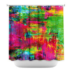 DiaNoche Designs - Shower Curtain Artistic - Washed Rainbow - DiaNoche Designs works with artists from around the world to bring unique, artistic products to decorate all aspects of your home.  Our designer Shower Curtains will be the talk of every guest to visit your bathroom!  Our Shower Curtains have Sewn reinforced holes for curtain rings, Shower Curtain Rings Not Included.  Dye Sublimation printing adheres the ink to the material for long life and durability. Machine Wash upon arrival for maximum softness. Made in USA.  Shower Curtain Rings Not Included.
