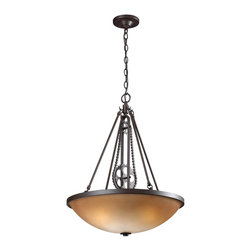 Elk Lighting - Elk Lighting Cog And Chain Pendant Light with Vintage Rust X-3-56266 - Bring back the industrial age with this nostalgic pendant that features an actual chain and cogs that resemble components used on machines at the turn of the century. Choose from a vintage rust finish with antique amber glass or bleached wood with white f