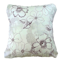 BohoCHIC Maui - White Floral, Silver Pillow Cover, Hawaiian Design - This cushion cover has been hand crafted from a beautiful white cotton. The Hawaiian flower floral design includes silver glitter which creates the petal shape and texture effect on select flowers on the front. White mirror organza covers the lined back of the pillow, making it opaque. The sheen and a luxe texture is achieved by careful layering of organza over the white cotton lining at the back. My signature lined envelope opening helps the owner to easily change inserts or clean the item with no fuss. Elegant Hawaiian floral chic for your home!