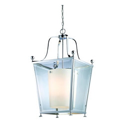 4 Light Chrome Clear Beveled Glass & Matte Opal Inside Glass Foyer Hall Pendant - This medium sized fixtures packs big style modern looks, without loosing any of the delicate tenderness found in traditional lighting. Chrome geometric shapes complimented with clear beveled glass on the outside of the fixture combined with warm glowing matte opal glass on the inside ensures that this style of lighting is truly unique.