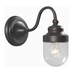 World Imports - Nichols Road Outdoor 1-Light with Glass Shade, Bronze - Bronze finish