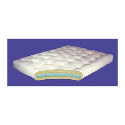 Gold Bond Futon - 6 in. Cotton w Foam Core Twin Mattress (6 in. - Choose Size: 6 in. - King1.5 in. layer of foam surrounded by Joy cotton batting. 5 year warranty. Made from 100% Joy cotton batting. 6 in. Twin Mattress: 39 in. W x 75 in. D (40 lbs.). 8 in. Twin Mattress: 39 in. W x 75 in. D (50 lbs.). 6 in. Full Mattress: 54 in. W x 75 in. D (40 lbs.). 8 in. Full Mattress: 54 in. W x 75 in. D (50 lbs.). 6 in. King Mattress: 76 in. W x 80 in. D (40 lbs.). 8 in. King Mattress: 76 in. W x 80 in. D (50 lbs.)Gold Bond stands today as one of the world's top manufacturers of quality futon mattresses, with dealers in 49 states and dozens of countries around the world. Why? Because we revolutionized the futon mattress. And no one can match our standards for quality materials, craftsmanship, durability and value. From our simple all-cotton pads to the extraordinary Visco and innerspring models, a Gold Bond is the ultimate choice in futon mattresses.