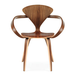 Cherner - Cherner Armchair - The Cherner Armchair brings exquisite design and fine materials into a bold, swashbuckling form. The flowing armrests on the chair are surprising and delightful. The back of the chair is elegantly curved, and does a lot with not much material at all. The unique and beguiling shape of the chair back is the second most striking design feature, and it fits in perfectly with the aesthetic established by the free-flowing armrests. Exceeding narrow at the small of the back but spreading quickly at the top to support your shoulders, it's a winning and impressive design.