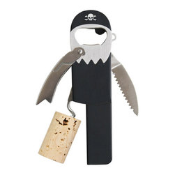 Contemporary Pirate Corkscrew - Do you need to get a bottle opened, me hearties? Well, this legless pirate corkscrew is here to help. Complete with a corkscrew for a leg, and a waiter's friend and foil cutter for arms — this pirate is ready to open any wine bottle.