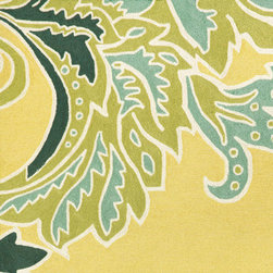 Trans-ocean - ornamental leaf border rug (yellow) 8-ft round - Soft under foot, these luxurious outdoor rugs are hand-looped and hand-cut in a similar fashion to fine indoor oriental rugs. UV-stabilized synthetic yarns minimize fading and naturally repel mildew and insects.