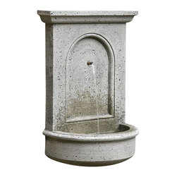Campania - Portico Wall Garden Water Fountain, Natural - The Portico Wall Fountain is subtle yet stylish; it features an architectural back plate with an arch inset, sitting atop a half-moon basin. Water streams down softly, creating a relaxing and serene atmosphere for you and your guests. The fountain is produced in natural cast stone.