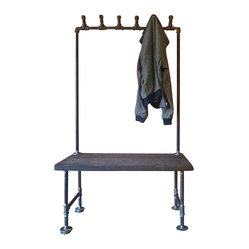 INDUSTRIAL PIPE COAT RACK BENCH