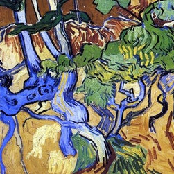 """Vincent Van Gogh Roots and Tree Trunks - 14"""" x 28"""" Premium Archival Print - 14"""" x 28"""" Vincent Van Gogh Roots and Tree Trunks premium archival print reproduced to meet museum quality standards. Our museum quality archival prints are produced using high-precision print technology for a more accurate reproduction printed on high quality, heavyweight matte presentation paper with fade-resistant, archival inks. Our progressive business model allows us to offer works of art to you at the best wholesale pricing, significantly less than art gallery prices, affordable to all. This line of artwork is produced with extra white border space (if you choose to have it framed, for your framer to work with to frame properly or utilize a larger mat and/or frame).  We present a comprehensive collection of exceptional art reproductions byVincent Van Gogh."""