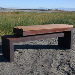 Cantilever Bench - This bench has a graphic, sculptural feeling. The recycled wood and metals come together in a great effect. A eye catching addition to any contemporary space.