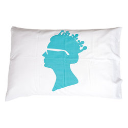 Jules Johnson Interiors - Jules Johnson Interiors Turquoise Solid Queen Pillowcases, Set of 2 - All hail the Queen...of style? In this definitive combination of old and new, the Jules Johnson Interiors Turquoise Solid Queen Pillowcase is the perfect accent for an ecclectic style. Featuring a bright turqoise print of the Queen's silhouette wearing a pair of trendy Ray-Ban's. Give your accesories a royal touch without being snobby, and don't be shy about breaking out a pint or two with this pillow around.Classic chic styleSmart, simple design with bold print