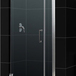 DreamLine - DreamLine SHDR-20307210-01 Unidoor 30 to 31in Frameless Hinged Shower Door, Clea - The Unidoor from DreamLine, the only door you need to complete any shower project. The Unidoor swing shower door combines premium 3/8 in. thick tempered glass with a sleek frameless design for the look of a custom glass door at an amazing value. The frameless shower door is easy to install and extremely versatile, available in an incredible range of sizes to accommodate shower openings from 23 in. to 61 in.; Models that fit shower openings wider than 31 in. have an adjustable wall profile which allows for width or out-of-plumb adjustments up to 1 in.; Choose from the many shower door options the Unidoor collection has to offer for your bathroom renovation. 30 - 31 in. W x 72 in. H ,  3/8 (10 mm) thick clear tempered glass,  Chrome, Brushed Nickel or Oil Rubbed Bronze hardware finish,  Frameless glass design,  Width installation adjustability: 30 - 31,  Out-of-plumb installation adjustability: Up to 1 in. one side (total 1 in.),  Self-closing solid brass wall mount hinges,  Door opening: 23 in.,  Stationary panel: 6 in.,  Reversible for right or left door opening installation,  Material: Tempered Glass, Brass