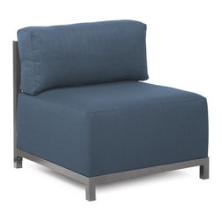 Howard Elliott - Sterling Indigo Axis Chair Slipcover - Ready to wear! Wouldn't it be fun to change your Axis Sectional on a whim? Now you can! With a Sterling Axis Cover, tailored construction and velcro fasteners make it so that you would never know these pieces are slipcovered. This provides for easy cleaning and quick updating. Get a whole new look with the rich linen-like texture of the Sterling Axis Slipcover and its selection of bold, vibrant colors!!