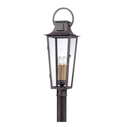 Troy Lighting - Troy Lighting French Quarter Transitional Outdoor Post Lantern X-5692P - From the French quarter collection, this troy lighting outdoor post lantern features an elongated body that hints at early French influencing. The frame of this post light has been constructed of hand forged iron and finished in a dark but charming aged pewter hue. It also features clear glass windows that allow ample light to shine through.