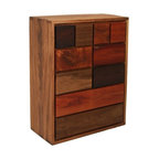 """EcoFirstArt - multi-wood """"Nita"""" dresser - Brazilian designer Tunico T. specializes in transcendent pieces fashioned from salvaged natural beauty. An impeccable patchwork of old-growth hardwoods, culled from the South American savannah, this dresser will make a simply striking statement in your eclectic bedroom."""