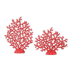 Uttermost - Red Coral Sculpture Set/2 - You have an eye for accents! These faux-coral sculptures bring the vibrant colors and delicacy of the sea to your favorite setting.