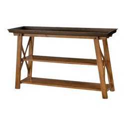 Hammary - Hammary New River Metal Top Tray Console Table in Rustic Alder - Metal Top Tray Console Table in Rustic Alder belongs to New River collection by Hammary