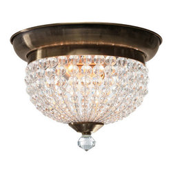Crystorama - Crystorama 6742-AB Newbury 2 Light Flush Mounts in Antique Brass - You'll see a variety of influences reflected in the Newbury collection, notably from jewelry. Crystal spheres are very glamorous and old Hollywood. But we've made some changes to the traditional design. The most dramatic is our use of round faceted hand cut crystal beads. It reads as more contemporary, perfect for today's interiors.
