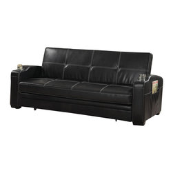 Adarn Inc - Faux Soft Leather Sofa Bed Sleeper Lounger w/ Storage Cup Holders Pop Up Trundle - This casual contemporary sofa bed will be a nice addition to your home, helping you make the most of your space. In a luxurious black faux leather with white accent stitching, this sofa will create a bold look. Perfect for lounging by day, the deep seat and high back cushions will keep you comfortable, framed by curved track arms with convenient storage pockets for magazines and remotes, and cup holders too. The back cushion drops, and a smooth easy to use pull out mechanism makes it simple to convert this sofa to a spacious and cozy bed for overnight guests. Add this convertible sofa to your home for a comfortable touch that everyone can enjoy.