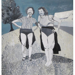 These Legs (Original) by Laura Makinen - The image in this painting comes from a vintage black and white photograph I found showing two women holding up their skirts, showing off their legs, laughing. It is a hilarious scene, definitely lighthearted. There were so many different elements to painting this piece- I especially love how the different shades of grey in the grass, the shadows, and the legs came out.
