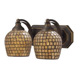 Elk Lighting - Elk Lighting 570-2B-GLD 2 Light Vanity in Aged Bronze & Gold Mosaic Glass - 2 Light Vanity in Aged Bronze & Gold Mosaic Glass belongs to Vanity Collection by Elk Lighting   Sconce (1)