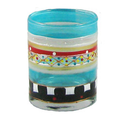 Golden Hill Studio - Mosaic Carnival Votive Holder - Paint by number: It's simple, really. One of these brilliantly hand-painted votives will add sparkle to a small spot. Two or three lined up on a mantel create a brilliant focus for the center of your room. But a larger number of these votives, scattered on your dining table, makes it magical.