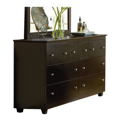 Atlantic Furniture - Atlantic Furniture Miami 7 Drawer Double Dresser in Espresso - Atlantic Furniture - Dressers - C74701 - This horizontal dresser sets itself apart from any other dresser and is great for those extra storage needs. The 7 drawers on this chic piece takes care of storage space and the brushed nickel drawers knobs gives it that modern youthful spirit you've been looking for. Metal drawer glides make the drawers open and shut smoothly. Assembled from Eco-friendly Hardwood and completed in Espresso finish, this piece will complete your modern look.