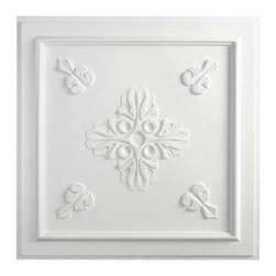 """Veranda Ceiling Tile - White - Perfect for both commercial and residential applications, these tiles are made from thick .03"""" vinyl plastic. Their lightweight yet durable construction make these tiles easy to install. Waterproof, these tiles are washable and won't stain due to humidity or mildew. A perfect choice for anyone wanting to add that designer touch at an amazing price."""
