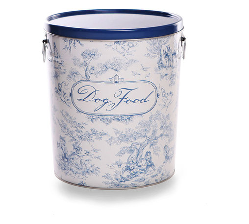 Dog Toile Food Canister - Blue - An appealing European pattern that mingles a robust sense of age with a fragile delicacy of design, toile takes a roguish spin with the canine customization featured on the Dog Toile Food Canister.  Labeled in flowing script, this sturdy recycled steel canister comes complete with a bright aluminum scoop, and its flat lid allows for easy stacking.