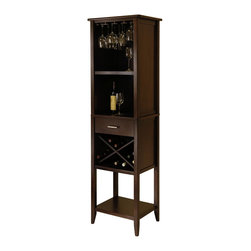Winsome Wood - Winsome Wood Palani Wine Tower with Cappuccino Finish X-22849 - Palani Wine Tower covers all your wine storage needs.  A convenient hanging wine glass rack is built into the top for wine glass storage.  Open shelves and drawer can we used for serving wine or accessories.    The X shaped bottom wine rack is perfect for storage your wine collection.  Great addition to your kitchen or dining room.  Assembly Required.
