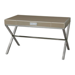 Carolyn Kinder - Carolyn Kinder Lexia Desk X-89242 - Bronze mirror-faceted desk with generous, wide drawer accented by a chrome bar pull over a beveled, white mirror plate fixed atop a stainless steel stretcher base.