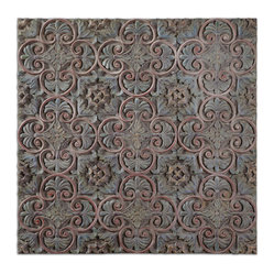 Uttermost - Barile Wooden Wall Art - Featuring a heavy gray wash with aged detailing in green and gold, the pastel tones of this piece of textured wall decor makes it an ideal choice for styles ranging from baroque, to Moroccan, to Mediterranean. Its multidimensional pattern adds visual intrigue to any wall space.