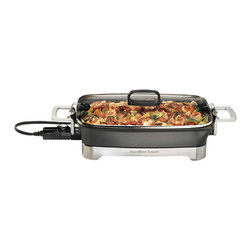 """HAMILTON BEACH BRANDS, INC. - Hamilton Beach Premiere Cookware Electric Skillet, 12"""" x 16"""" Die-Cast Aluminum - Hamilton Beach Premiere Cookware Electric Skillet is full of smart design details that make it a pleasure to use. It combines the advantages of a countertop skillet and convenient griddle into one compact machine. It has easy-clean nonstick surfaces and stay-cool handles for added comfort and convenience. This powerful combination appliance has full variable heat control, nesting pieces for compact storage. The skillet and cover are dishwasher safe."""