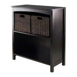 """Winsome Trading, INC. - Winsome 3 Piece Storage 3-Tier Shelf - Terrace Storage Shelf/Bookcase Collection is perfect to use alone or pair with baskets and create a place for your goodies. This 3-Tier Shelf has overall size of 26""""W x 11.8""""W x 30""""H. Top is 26""""W x 11.81""""D. Upper shelf is 23.54""""W x 10.63""""D x 12.80""""H and lower shelf is 12.32""""H. Comes with two Small baskets made from corn husk 11.02""""W x 10.24""""D x 9.06""""H in chocolate color. Shelf/Bookcase constructed from combination of solid and composite wood in Dark Espresso finish. Assembly Required."""