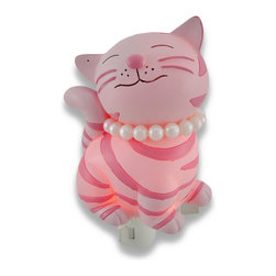 Children`s Pink Kitty Cat with Pearls Night Light Nite Lite - This cute kitty cat night light adds a pretty accent to your little girl`s room while casting a comforting glow in the nighttime hours. Made of cold cast resin, it measures 5 inches tall, 4 1/4 inches wide, and 2 1/2 inches deep. It has a 360 degree swivel plug to accommodate any outlet, and it uses a 7 watt (max) type C night light style bulb (included). The light has an on/off switch on the front, and is recommended for children ages 6 and up.
