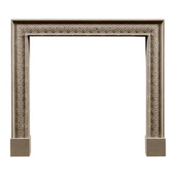 The Osterley Chimneypiece - The simple moulded outlines of this carved Portland stone mantelpiece flank a running band of guilloche. Guilloche, derived from classical architecture, has been employed in many different ways for decoration on furniture, metalwork and ston