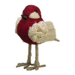 Standing Burlap Bird - Made of burlap, this red and natural beige bird will stand strong on branches of your homespun traditional Christmas tree.