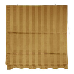 Oriental Unlimited - Striped Gold Retractable Roman Window Blind ( - Choose Size: 48 in. W x 72 in. HRoman style retractable window treatments block light and provide privacy. Beautiful subtly striped cotton blend fabric in soft gold color. Simple design is easy to operate and installs in minutes. 24 in. W x 72 in. H. 36 in. W x 72 in. H. 48 in. W x 72 in. H. 60 in. W x 72 in. H. 72 in. W x 72 in. H